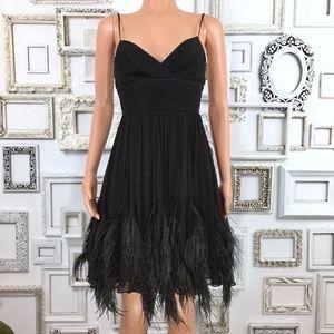 BCBGMAXAZRIA Ostrich Feather Silk Chiffon Dress